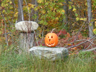 Pumpkin Head on the Rock